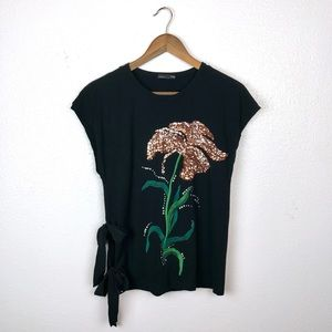 Zara | Black Sequin Embroidered Floral Top